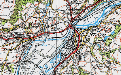 Old map of Neath in 1923