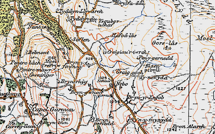 Old map of Afon Iwrch in 1922