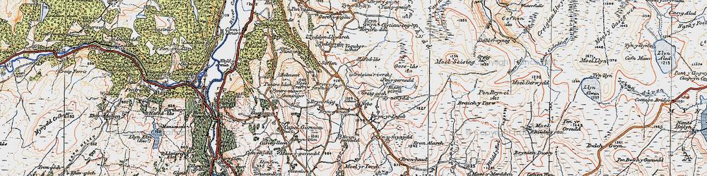 Old map of Afon Iwrch in 1922