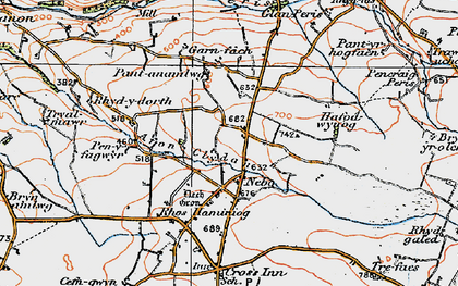Old map of Afon Cledan in 1923