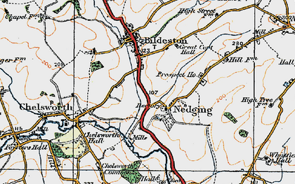 Old map of Nedging in 1921