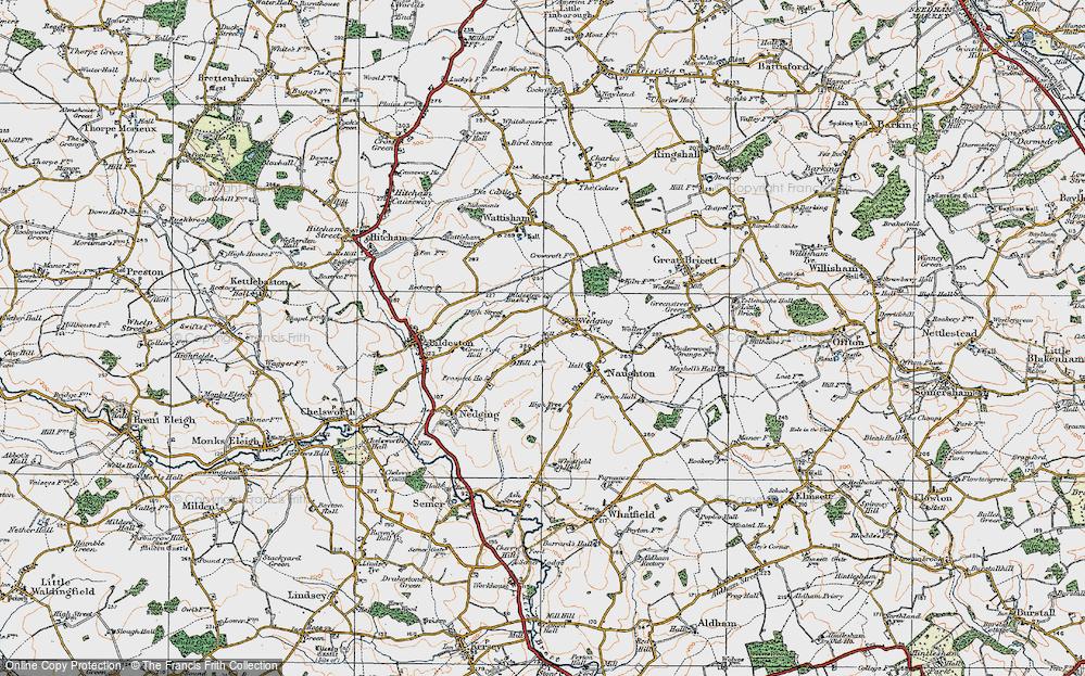 Old Map of Nedging Tye, 1921 in 1921
