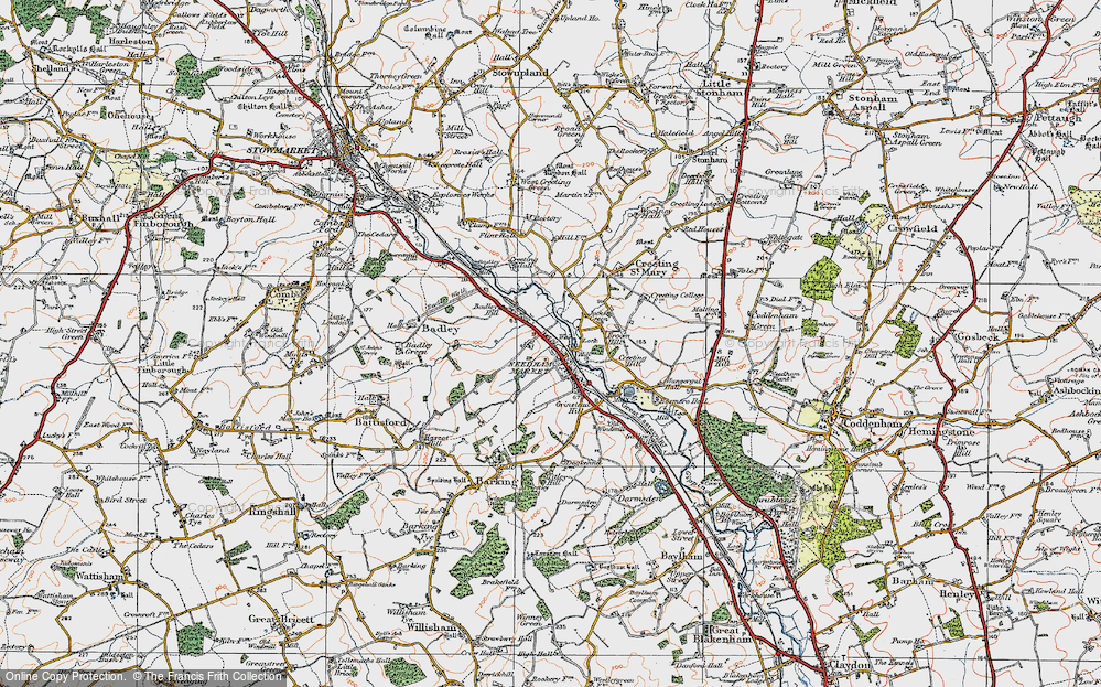 Old Map of Historic Map covering Badley Hill in 1921