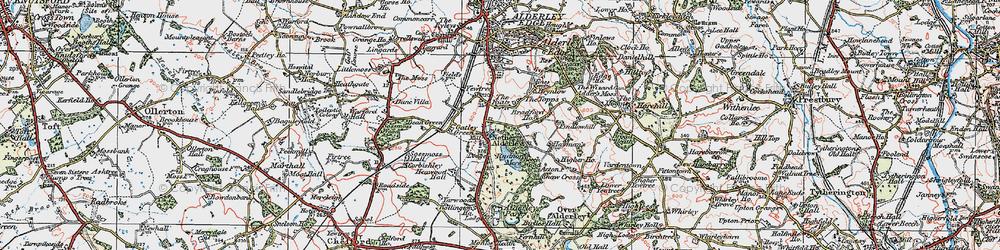 Old map of Nether Alderley in 1923