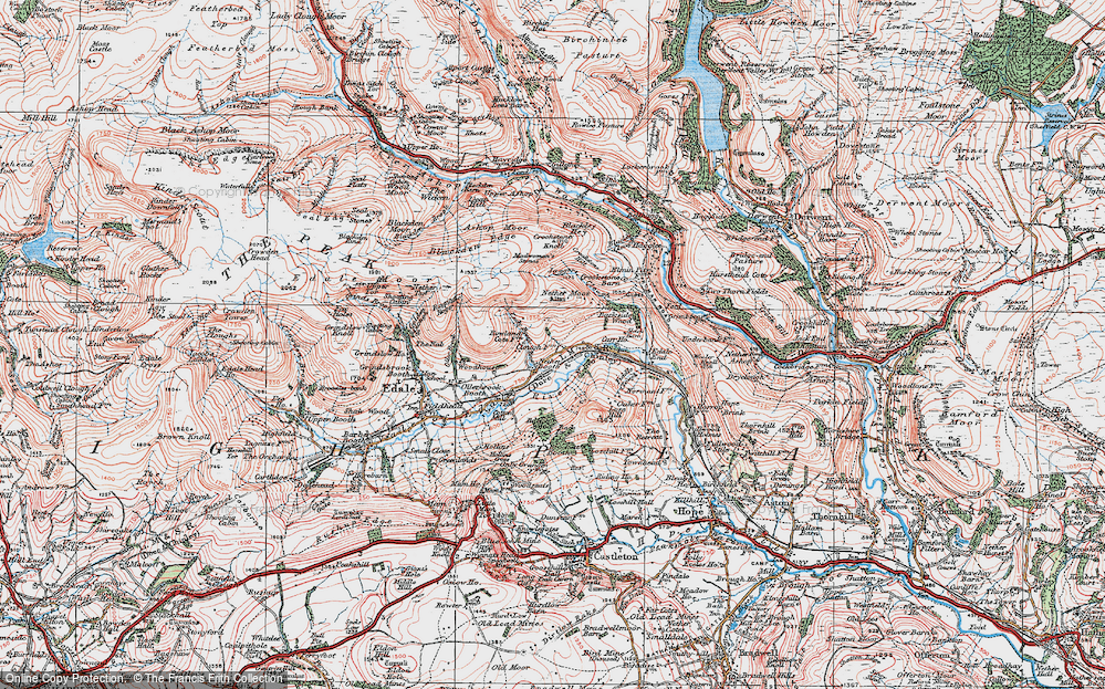 Old Map of Historic Map covering Back Tor in 1923
