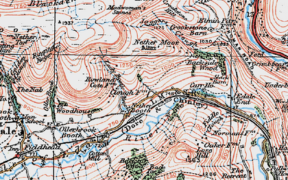 Old map of Back Tor in 1923