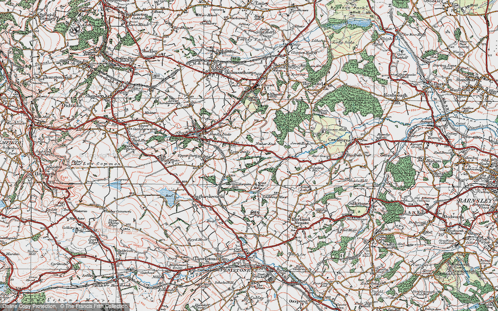 Old Map of Historic Map covering Ackin Royd in 1924