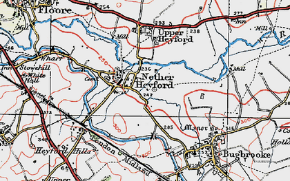 Old map of Nether Heyford in 1919