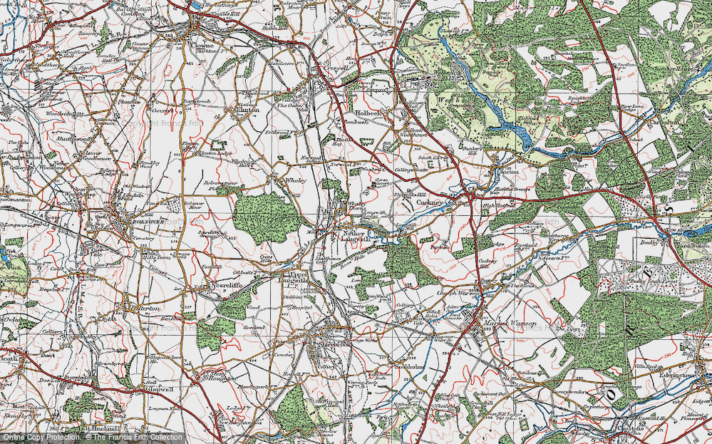 Old Map of Historic Map covering Langwith Mill Ho in 1923