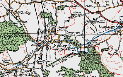 Old map of Langwith Mill Ho in 1923