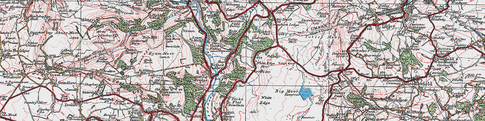 Old map of White Edge Moor in 1923