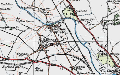 Old map of Nether Poppleton in 1924