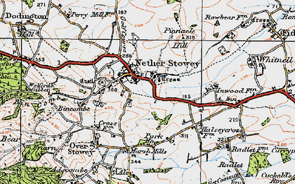 Old map of Nether Stowey in 1919