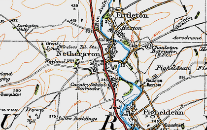 Old map of Netheravon in 1919