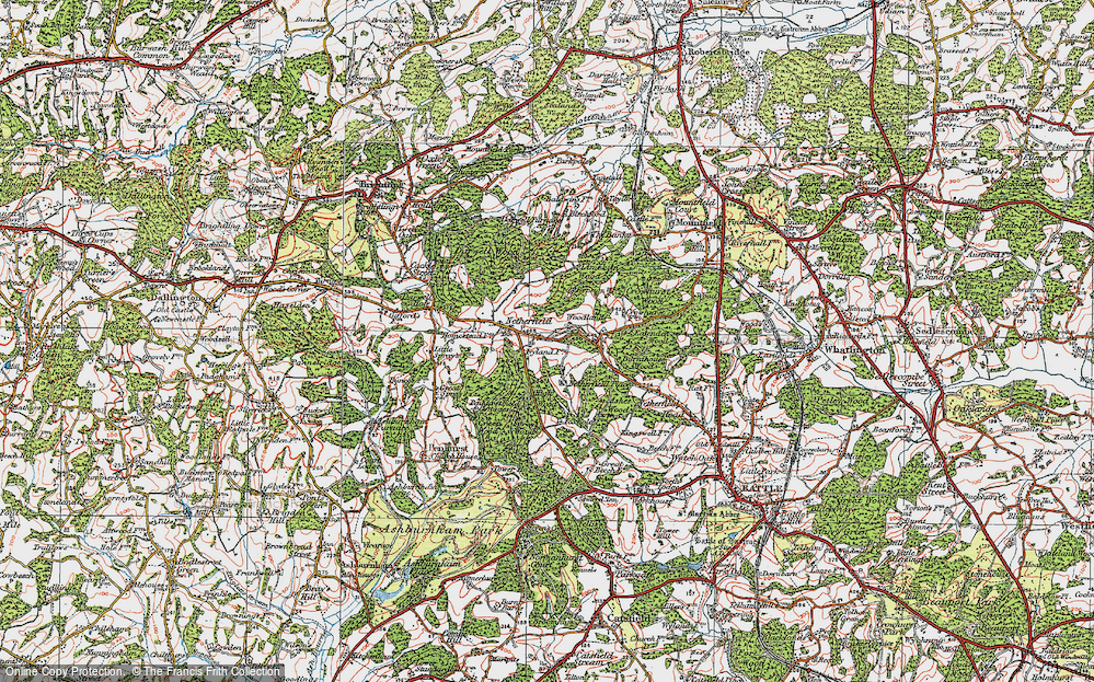 Old Map of Historic Map covering Atkins Wood in 1921