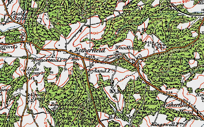 Old map of Atkins Wood in 1921