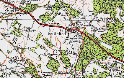 Old map of Nettlebed in 1919