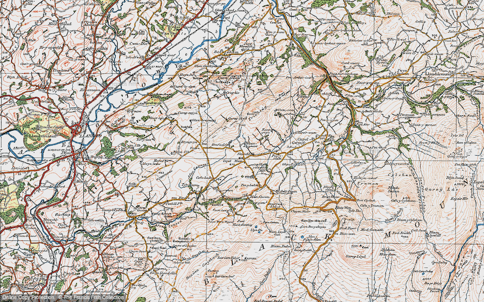 Old Map of Historic Map covering Afon Camnant in 1923