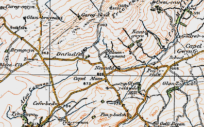 Old map of Afon Camnant in 1923