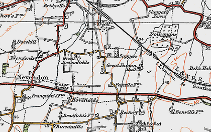 Old map of Nevendon in 1921