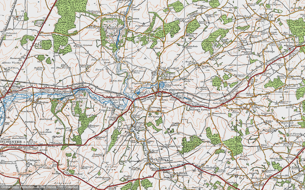 Old Map of Historic Map covering Hampshire in 1919