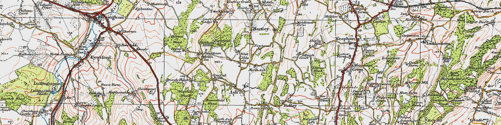 Old map of New Ash Green in 1920