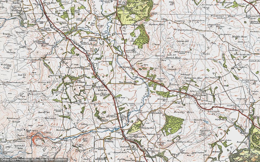 Old Map of Historic Map covering Tick Law in 1926