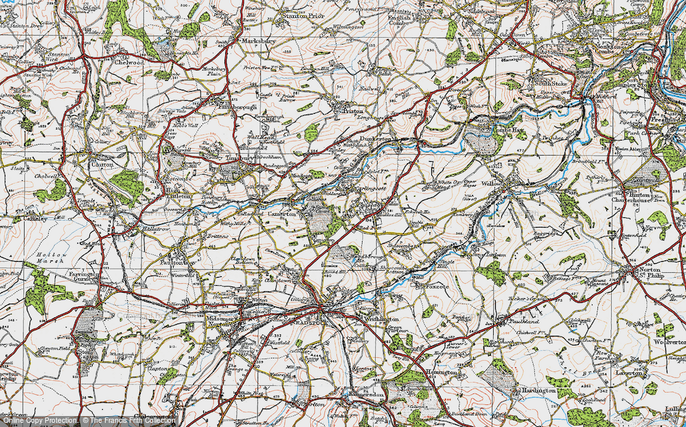 Old Map of Historic Map covering Woodborough Ho in 1919