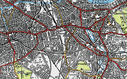 Old map of New Cross in 1920