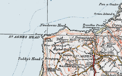 Old map of New Downs in 1919