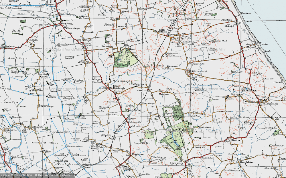 Old Map of Historic Map covering Langthorpe Hall in 1924