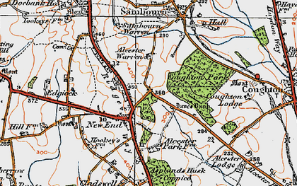 Old map of Asplands Husk Coppice in 1919