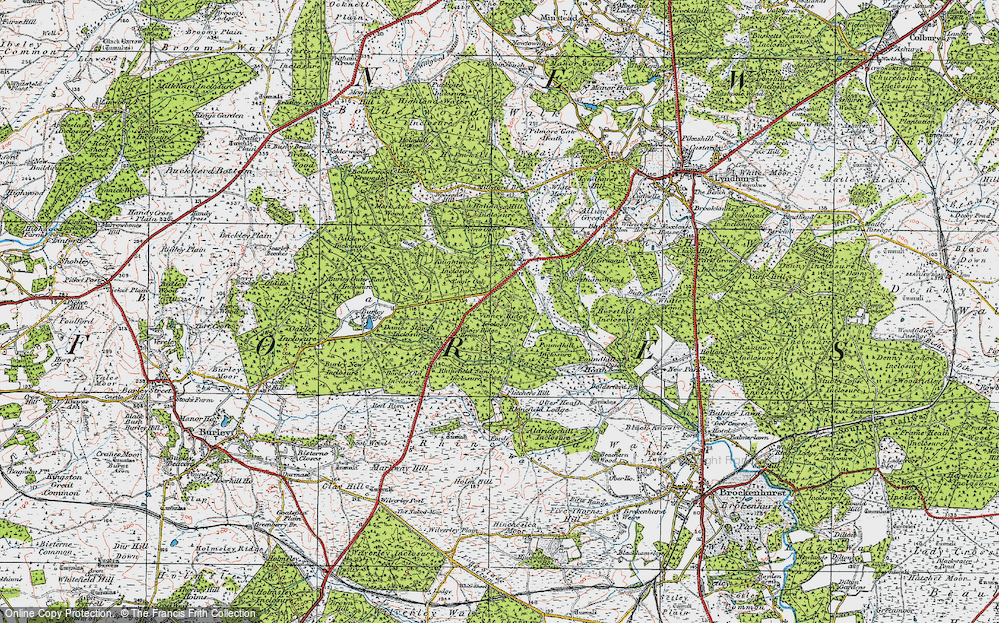 Old Map of Historic Map covering Wooson's Hill Inclosure in 1919