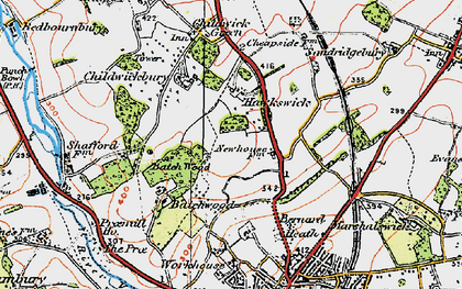 Old map of New Greens in 1920