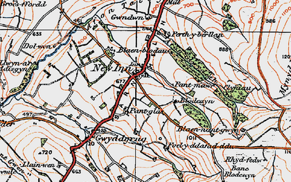 Old map of Afon Gilwydeth in 1923