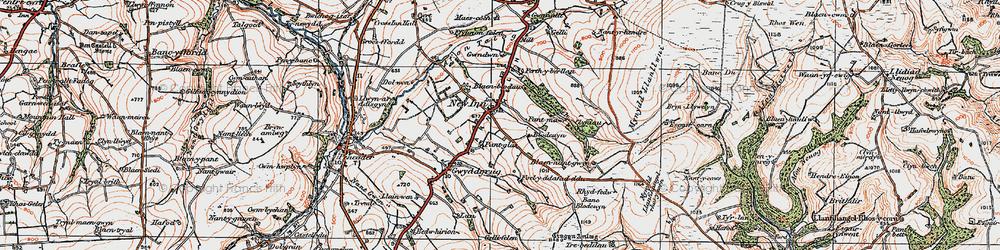 Old map of Afon Gilwydeth in 1923