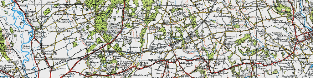 Old map of New Milton in 1919