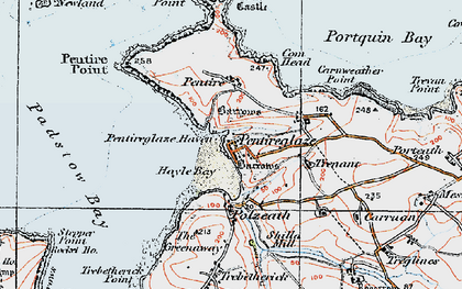 Old map of New Polzeath in 1919