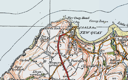 Old map of New Quay in 1923