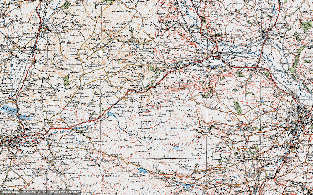 Old Map of Historic Map covering Bare Hill in 1925