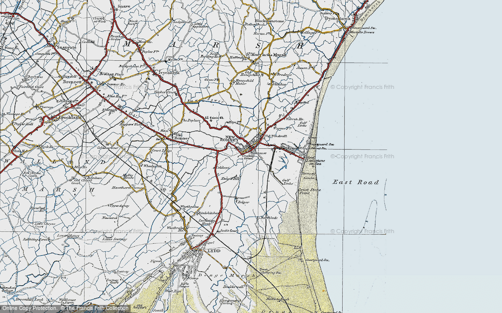 Old Map of New Romney, 1921 in 1921
