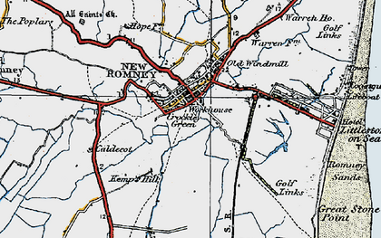Old map of New Romney in 1921