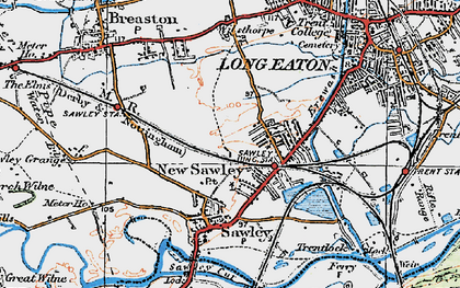 Old map of New Sawley in 1921