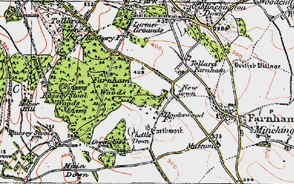 Old map of Larmer Tree Gdns in 1919