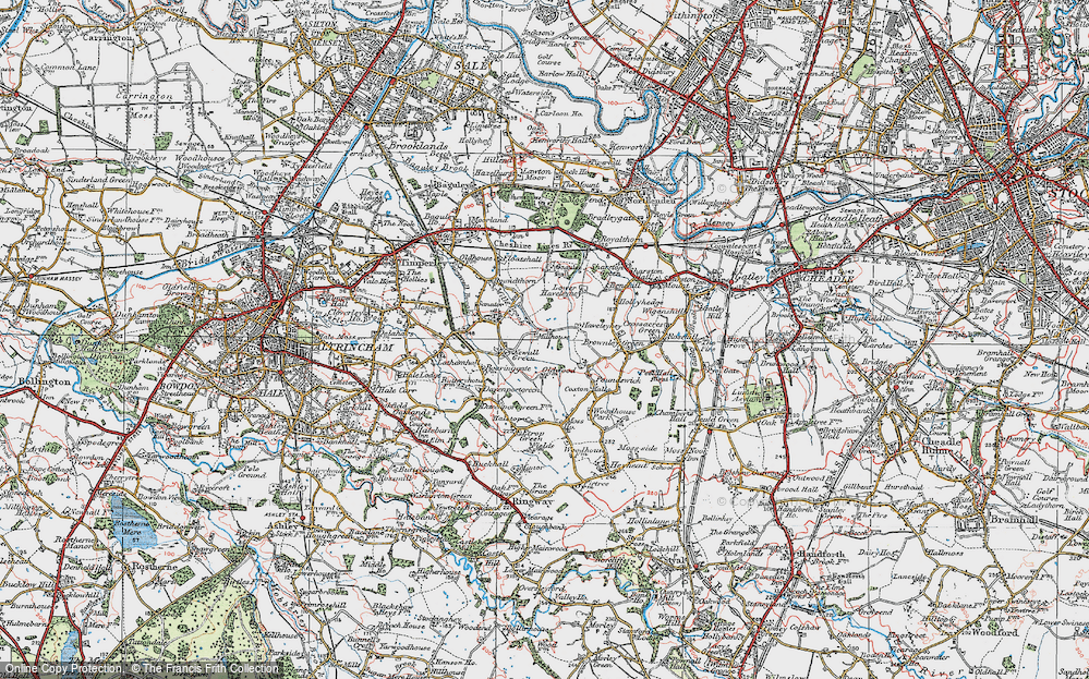 Old Map of Historic Map covering Baguley Hall in 1923