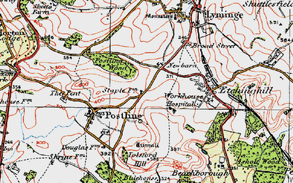 Old map of Tolsford Hill in 1920