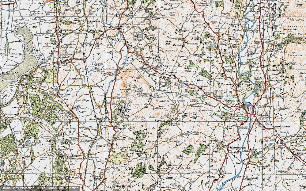 Old Map of Historic Map covering Whin Yeats in 1925