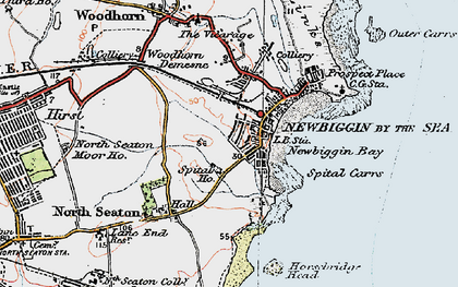 Old map of Newbiggin-by-the-Sea in 1925