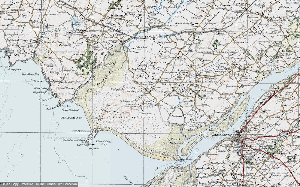 Old Map of Newborough, 1922 in 1922