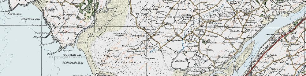 Old map of Newborough in 1922